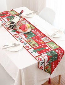 Fashion Red+green Cartoon Christmas Table Flag