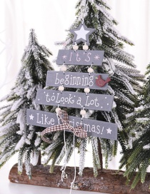Fashion Grey Christmas Tree Wooden Pendant Colorful Letters Christmas Wooden Pendant