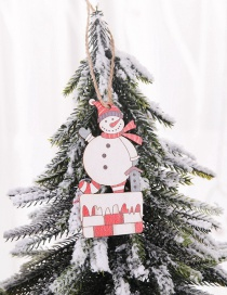 Fashion Chimney Snowman Painted Wooden Sign Pendant 2 Packs