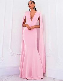 Fashion Pink V-neck Halter Shawl Dress