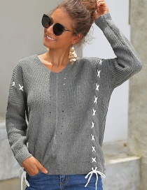 Fashion Gray Knit Sweater With Bow Crossed On The Back