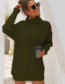 Fashion Green Thick Needle High Collar Twist Knit Sweater