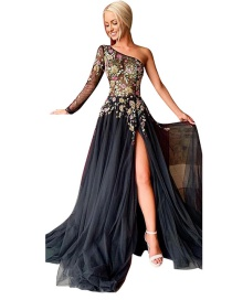 Fashion Black Unilateral Sleeve Slanted Shoulder Embroidered Hem Split Dress