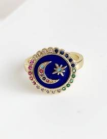 Fashion Navy Copper Inlay Zircon Crescent Ring