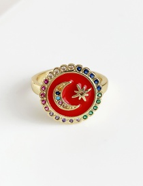 Fashion Red Copper Inlay Zircon Crescent Ring