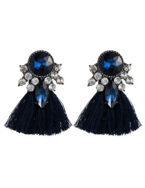 Fashion Blue Acrylic-studded Tassel Earrings
