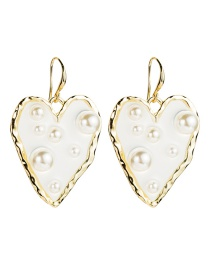 Fashion White Alloy Resin Love Heart-shaped Pearl Earrings