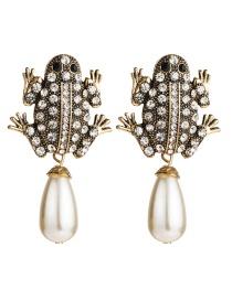 Fashion White Acrylic Diamond Faux Pearl Frog Earrings  Alloy