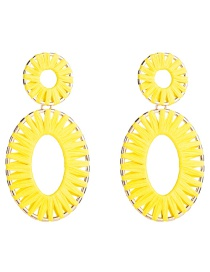 Fashion Yellow Multilayer Alloy Oval Openwork Lafite Earrings