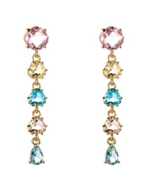 Fashion Color Colorful Geometric Studded Zircon Earrings  Alloy