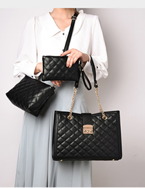 Fashion Black Lingge Chain Single Shoulder Diagonal Package