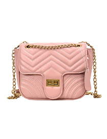 Fashion Vertical Pink Embroidered Thread Lock Chain Single Shoulder Messenger Bag