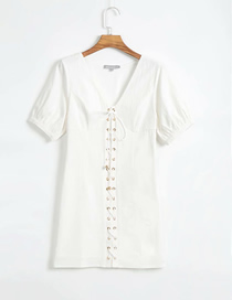Fashion White Solid Color V-neck Strap Short Sleeve Stitching Dress