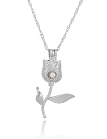 Fashion Rose Pearl Openwork Oyster Cage Necklace