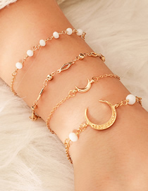 Fashion Gold Alloy Chain Rice Beads Horns Crescent 4 Layer Bracelet