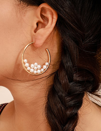 Fashion Gold Alloy Size Pearl Geometric Round Earrings