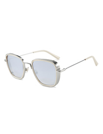 Fashion Silver Frame White Mercury Square Single Beam Sunglasses