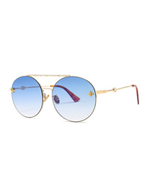 Fashion Gradient Blue Double Beam Round Sunglasses