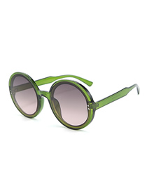 Fashion Green Frame Gray Powder Round Frame Sunglasses