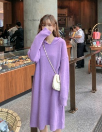 Fashion Purple Solid Color Knit Hooded Dress