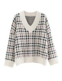 Fashion Beige Houndstooth V-neck Color Sweater