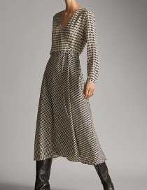 Fashion Lattice Houndstooth Print Dress