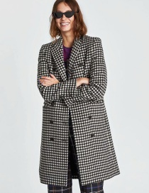 Fashion Lattice Plaid Double Breasted Coat