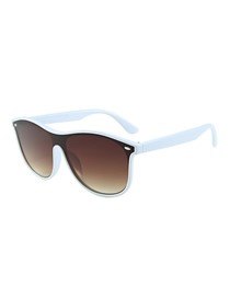 Fashion White Box Tea Siamese Lens Sunglasses