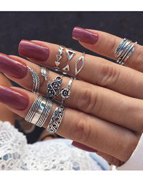 Fashion Silver Openwork Carved Leaf Feather Ring Set Of 9