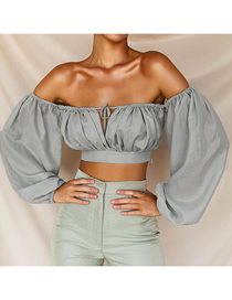 Fashion Gray One-shoulder Strap With Short Navel T-shirt