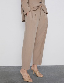 Fashion Khaki Pleated Straight Pants