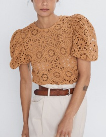 Fashion Ginger Yellow Crochet Knit Top
