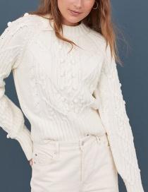 Fashion White Wool-blend Twisted Knit Sweater