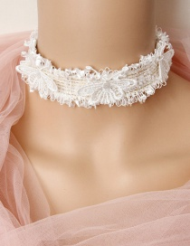 Fashion White Lace Butterfly Necklace