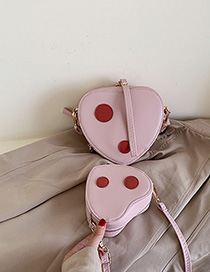 Fashion Small Pink Contrast Heart-shaped Shoulder Messenger Bag