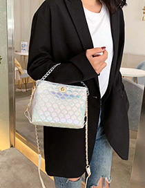 Fashion White Color Fish Scale Chain Lock Single Shoulder Messenger Bag