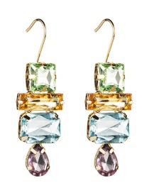 Fashion Color Multi-layer Water Drop Diamond Earrings