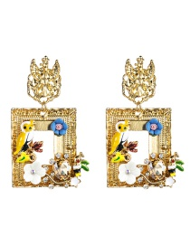 Fashion Gold Color Square Alloy Drop Oil Bird Resin Floral Diamond S925 Silver Needle Earrings