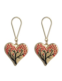 Fashion Red Love Heart Shaped Oil Drop Tree Earrings
