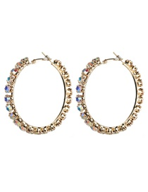 Fashion Gold No. 5 Large Circle Outer Ring With Diamond Earrings