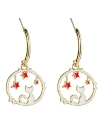 Fashion White S925 Silver Needle Alloy Drop Oil Circle Stars Kitten Earrings