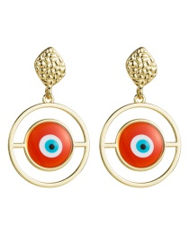 Fashion Red Multilayer Alloy Ring Resin Eye Earrings
