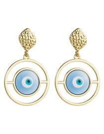 Fashion Blue Multilayer Alloy Ring Resin Eye Earrings