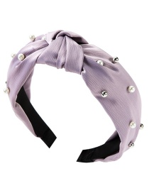 Fashion Purple Cloth Two-tone Pearl Headband