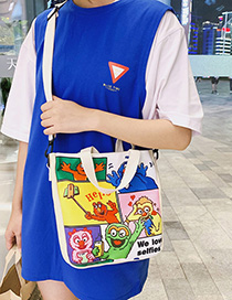 White Cartoon Contrast Handbag Shoulder Messenger Bag