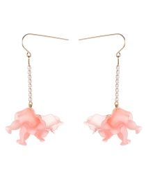 Fashion Pink Multi-layer Resin Flower Pearl Earrings