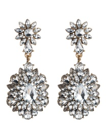 Fashion Silver Multi-layer Acrylic Diamond Flower Earrings