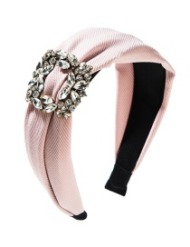 Fashion Pink Wide-brimmed Square Alloy Diamond Headband