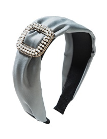 Fashion Gray Fabric Square Alloy With Pearl And Diamond Headband