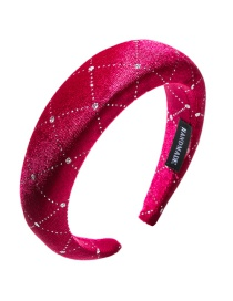 Fashion Rose Red Gold Velvet Plastic Sequined Plaid Headband